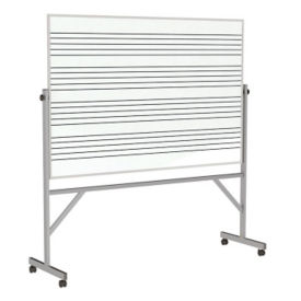 Reversible Whiteboard with Music Staff Lines and Box Tray - 4' x 6', B23284