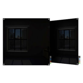 Square Corner Glass Board - 4' W x 4' H , B23390