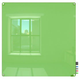 Magnetic Radius Corner Glass Board - 4' W x 4' H, B23395