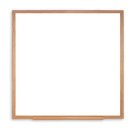 Porcelain White Board with Solid Oak Frame 4'W x 4'H , B23445