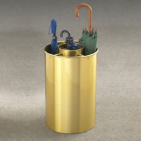 "Satin Brass Five Compartment Umbrella Stand - 23""H, V20032"