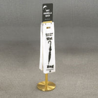 Satin Brass Standing Wet Umbrella Bag Holder With Sign Holder, V20072