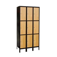 "3 Tier 3 Wide Wood Hybrid Locker 36""W x 18""D, B34072"