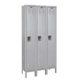 "Assembled 1 Tier 3 Wide Medical Locker - 36"" W, B34169"