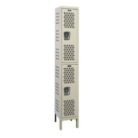 "Assembled 2-Tier Ventilated Locker 15"" W x 21"" D, B34225"