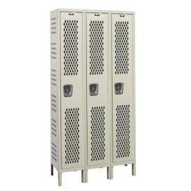 """Assembled 1-Tier 3-Wide Ventilated Locker 45"""" W x 15"""" D, B34234"""