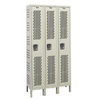 """Assembled 1-Tier 3-Wide Ventilated Locker 54"""" W x 18"""" D, B34237"""