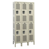 "Assembled 2-Tier 3-Wide Ventilated Locker 45"" W x 18"" D, B34243"