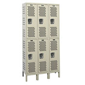"Assembled 2-Tier 3-Wide Ventilated Locker 54"" W x 21"" D, B34246"