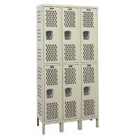 """Assembled 2-Tier 3-Wide Ventilated Locker 54"""" W x 21"""" D, B34246"""