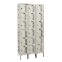 """Assembled 6-Tier 3-Wide Ventilated Locker 36"""" W x 18"""" D, B34249"""
