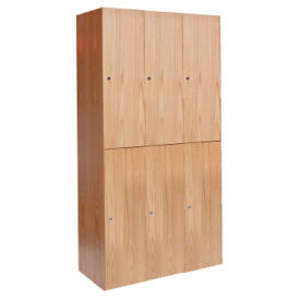 Two Tier Wood Lockers 3 Wide, D23056