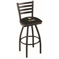 "Ladder-Backed Stool with Vinyl Military Logo -  30""H, C80473"