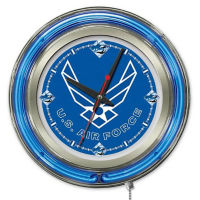 "Neon Clock with Military Logo - 15"" Dia., V21965"