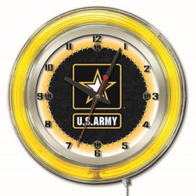 "Neon Clock with Military Logo - 19"" Dia., V21966"