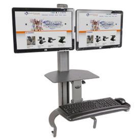 Dual Monitor Adjustable Height Desktop Mount, D35329