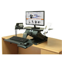 Adjustable Height Monitor Stand with Phone and Document Holders, D35330