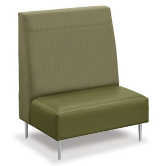 Vinyl and Fabric High-Back Lounge Chair, W60744