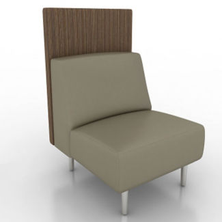 Vinyl Armless Lounge Chair with Fabric Back Panel, W60751