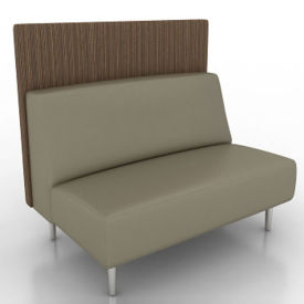 Vinyl Armless Lounge Loveseat with Fabric Back Panel, W60762