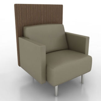 Vinyl Lounge Chair with Fabric Back Panel, W60771