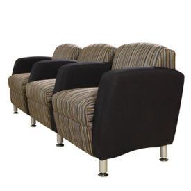 Two-Tone Fabric Three Seat Lounge Sofa with Arms, W60780