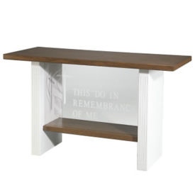 Plexiglass Communion Table with White Legs, C30122