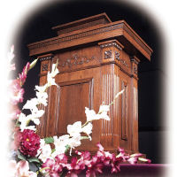 "Two Tiered Wood Stained Pulpit - 46""H, C30135"