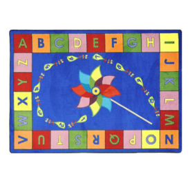 "Alphabet Pinwheel Rectangle Rug 92"" x 129"", P40066"
