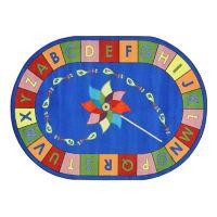 "Alphabet Pinwheel Oval Rug 92"" x 129"", P40067"