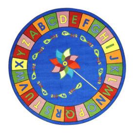 "Alphabet Pinwheel Round Rug 65"" Diameter, P40071"