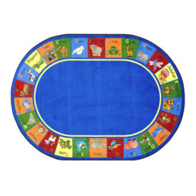 "Animal Phonics Oval Rug 65"" x 92"", P40077"