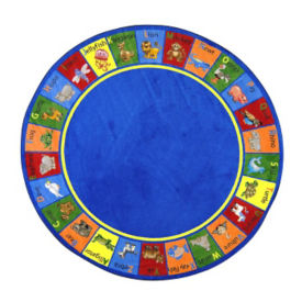 "Animal Phonics Round Rug 91"" Diameter, P40080"