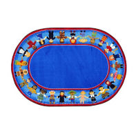 "Children of Many Cultures Oval Rug 129"" x 158"", P40120"