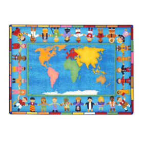 "Hands Around the World Rectangle Rug 92"" x 129"", P40143"