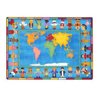 "Hands Around the World Rectangle Rug 129"" x 158"", P40146"