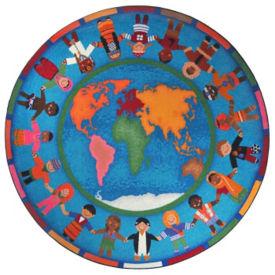 "Hands Around the World Round Rug 91"" Diameter, P40145"