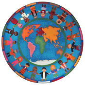 "Hands Around the World Round Rug 158"" Diameter, P40148"