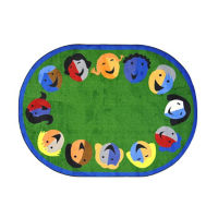 "Joyful Faces Oval Rug 92"" x 129"", P40154"