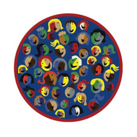 "Joyful Faces Full Design Round Rug 91"" Diameter, P40155"