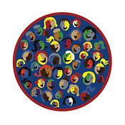 """Joyful Faces Full Design Round Rug 91"""" Diameter, P40155"""