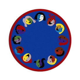 "Joyful Faces Perimeter Design Round Rug 91"" Diameter, P40156"