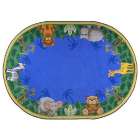 "Jungle Friends Oval Rug 129"" x 158"", P40167"