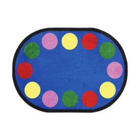 """Lots of Dots Oval Rug 129"""" x 158"""", P40191"""