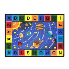 "Space Alphabet Rectangle Rug 129"" x 158"", P40255"