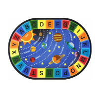 "Space Alphabet Oval Rug 92"" x 129"", P40254"
