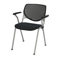 Stack Chair with Perforated Poly Back and Upholstered Seat, C60205