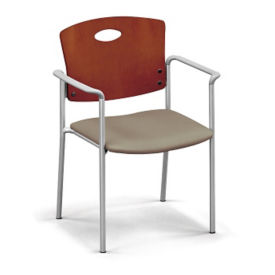 Standard Wood Back Stack Chair with Arms, K10026