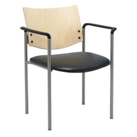 Standard Wood Back Stack Chair with Arms, K10049