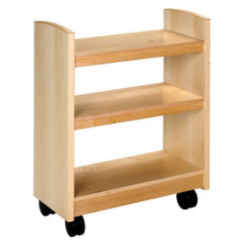 "Rolling Book Cart with Maple Finish 41""H, B34374"